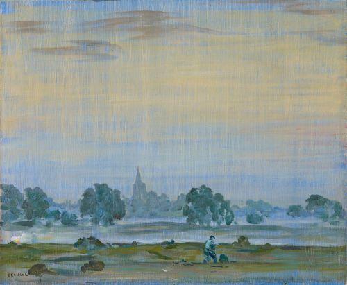 A. Deusser - Arcen von Westen (Lottum, von Arcen aus gesehen, mit Bodennebel, Abendlandschaft an der Maas, Lottum, 1918 - 1924)